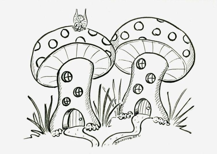 Vorlagen zum Ausdrucken und Ausmalen mit Pilzen | Herbst ...