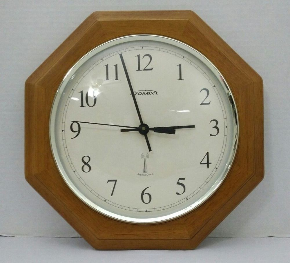 atomix atomic wall clock wooden octagon 12 inch battery on wall clocks battery operated id=71868