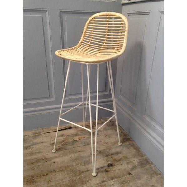 tabouret bar rotin blanc chaise bar