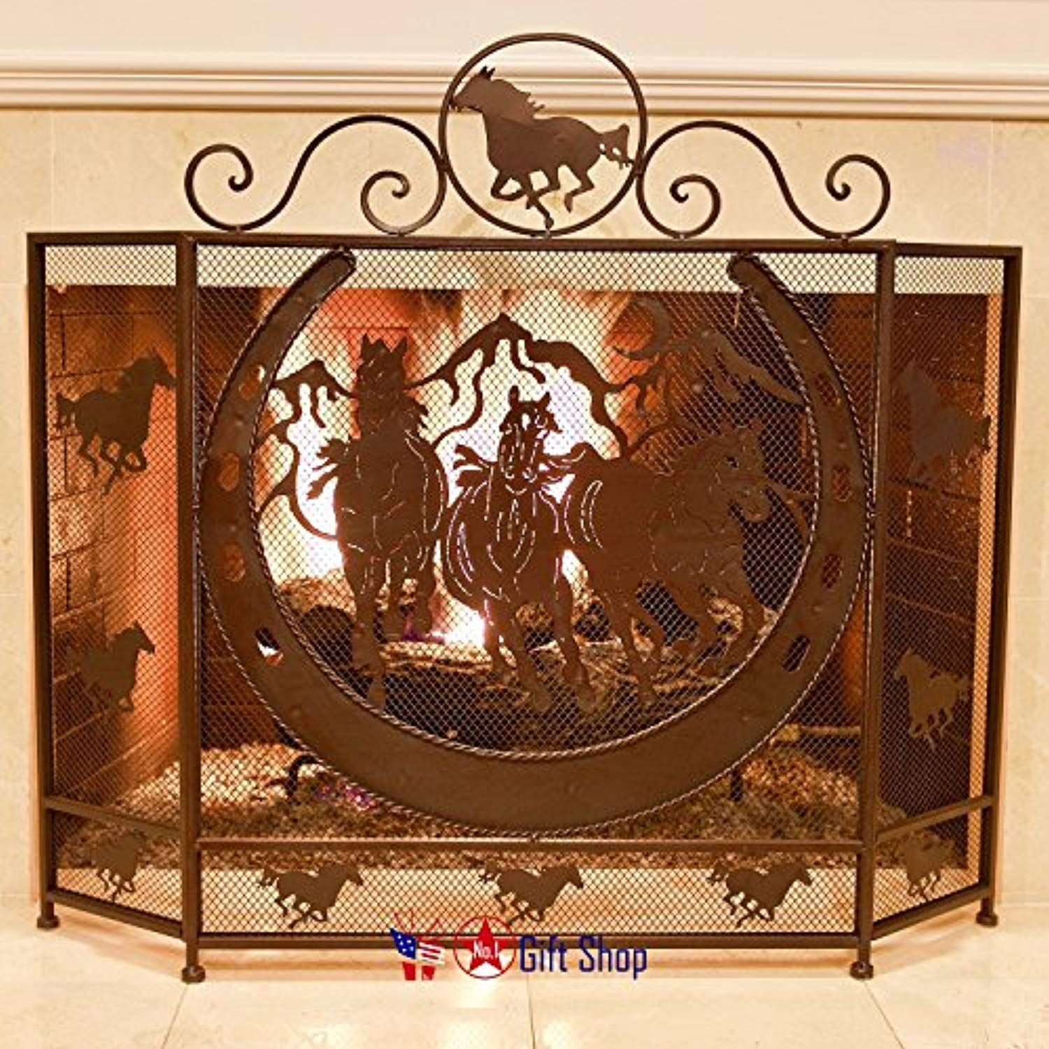 Bestgiftever Metal Running Horse Fireplace Screen Rustic Style