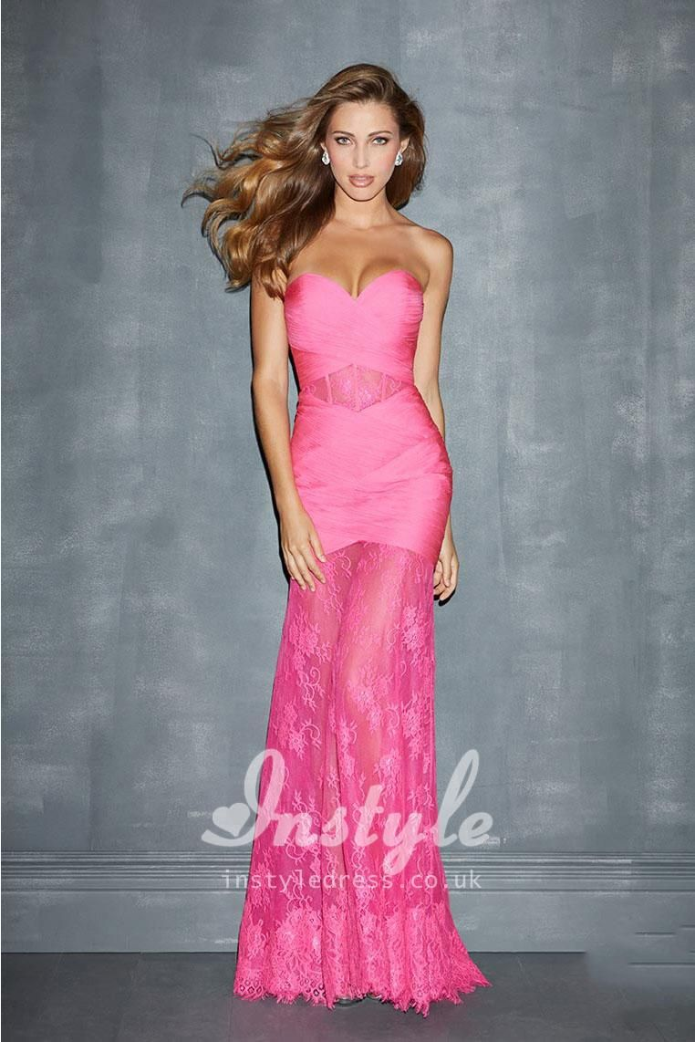 Hot Pink Chiffon and Lace Sweetheart Prom Dress | Prom Queen | Prom ...