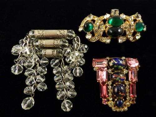 Vintage 1930s 40s Art Deco Group 3 Ornate Big Gem Clip Brooches incl Aster NY   eBay