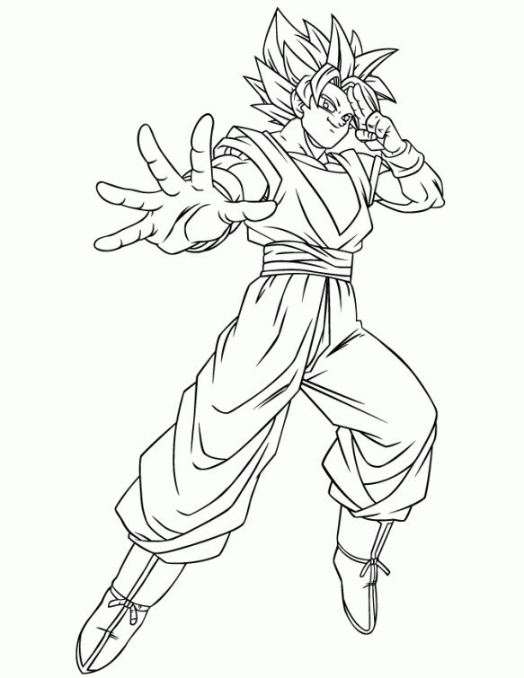 dragon ball z goku using instant transmission super saiyan coloring page