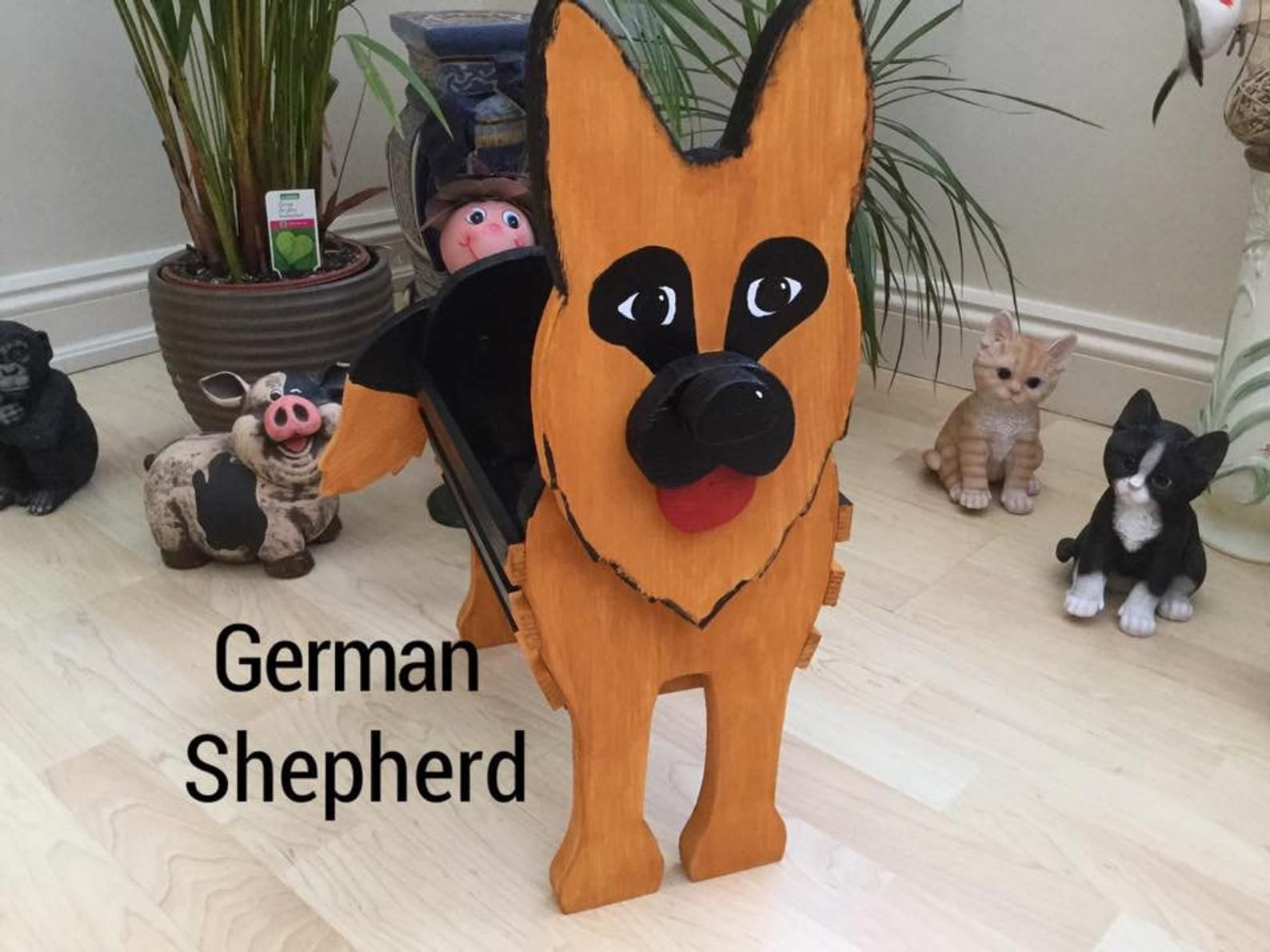 Wooden Pet Planterpet Toy Holder German Shepherd Garden Etsy In 2020 Wooden Garden Ornaments Dog Crafts Cat Plants