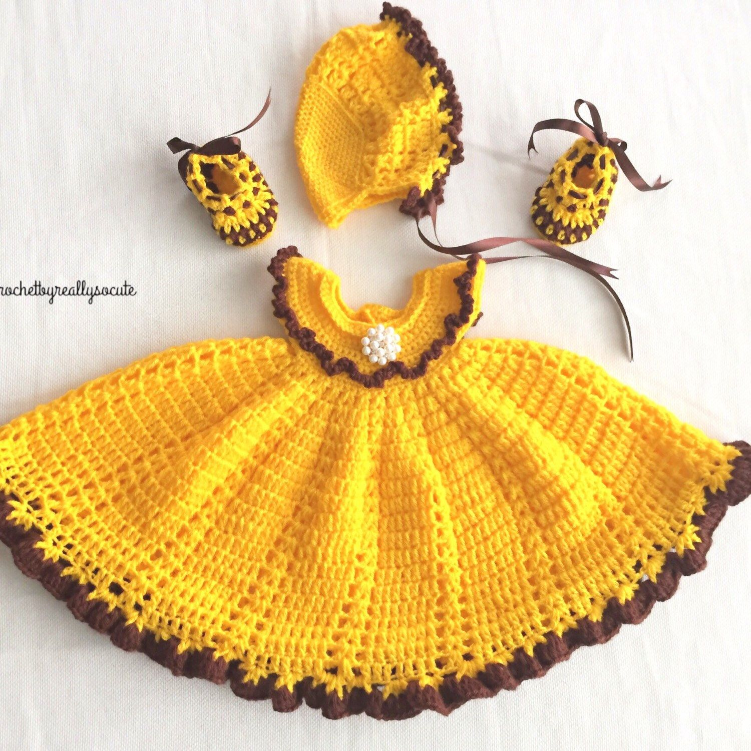 Yellow dress 3-6 months   Month baby dressbaby bonnet baby girl outfit baby dress home