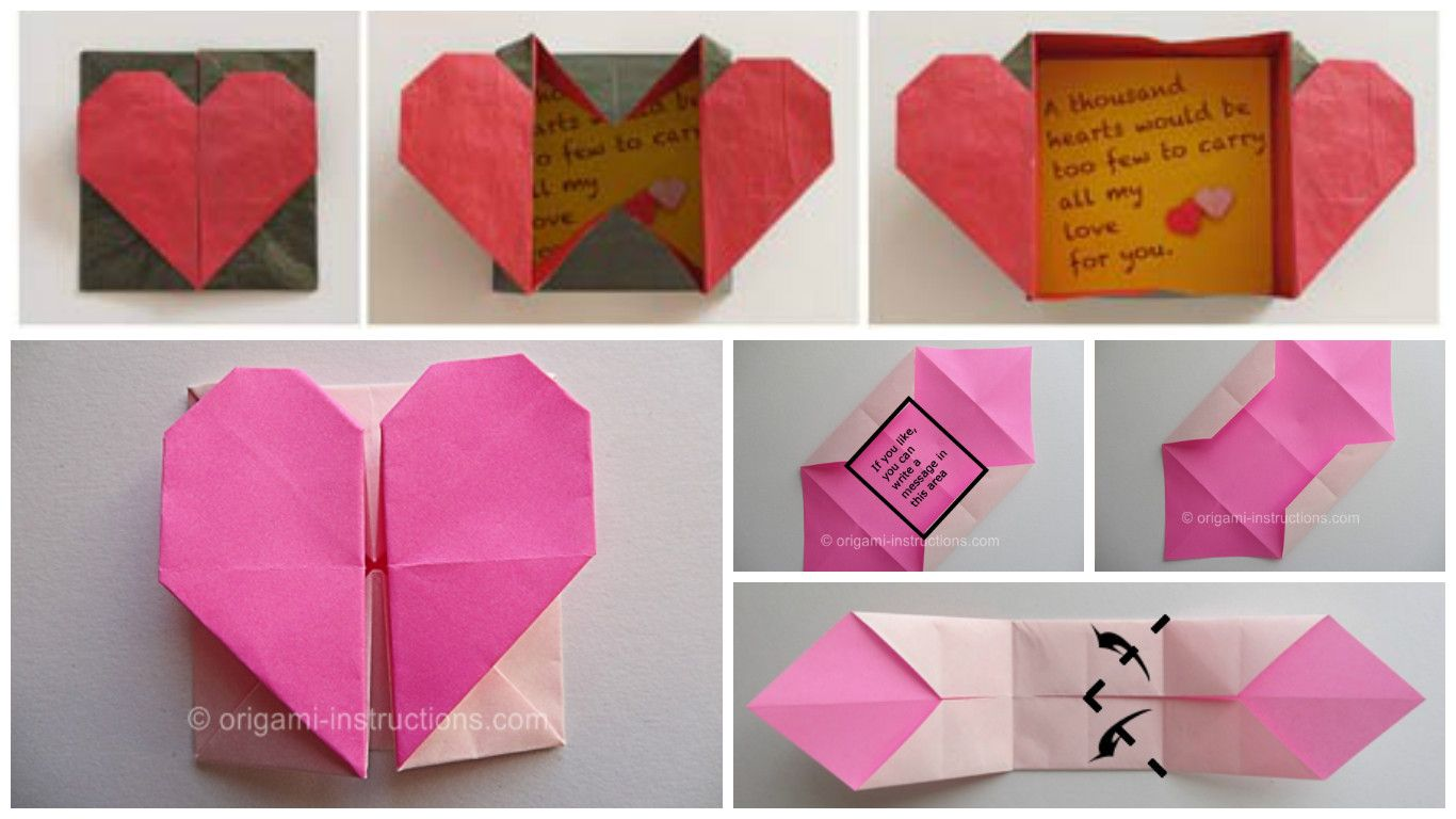 Origami Heart with Message - Origami Easy - YouTube | 768x1366