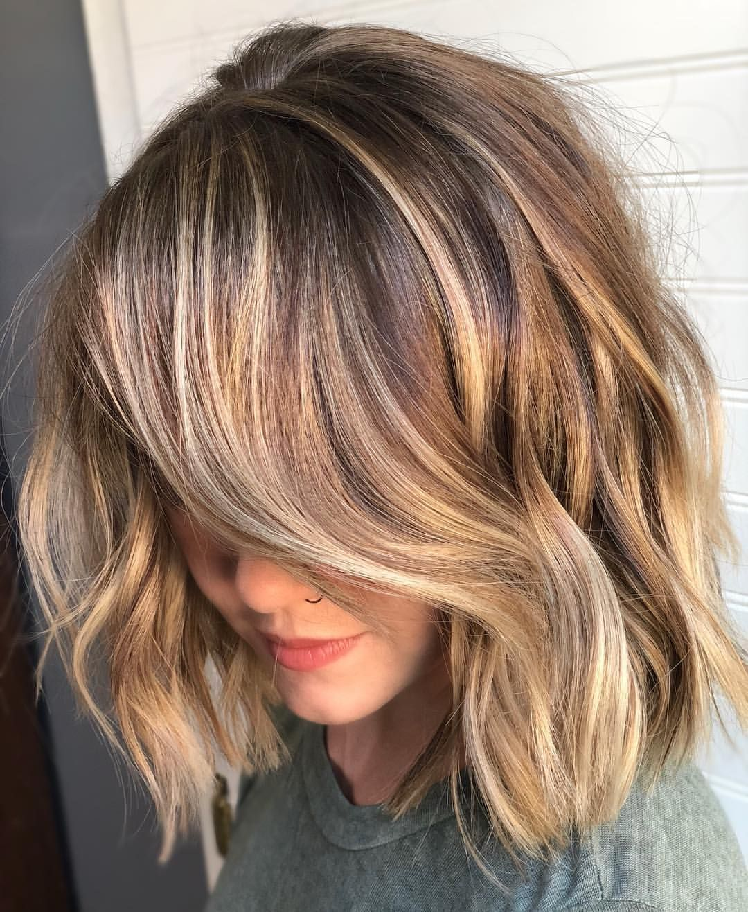 Sexy Lob Textured Haircut With Blonde Highlights Dark