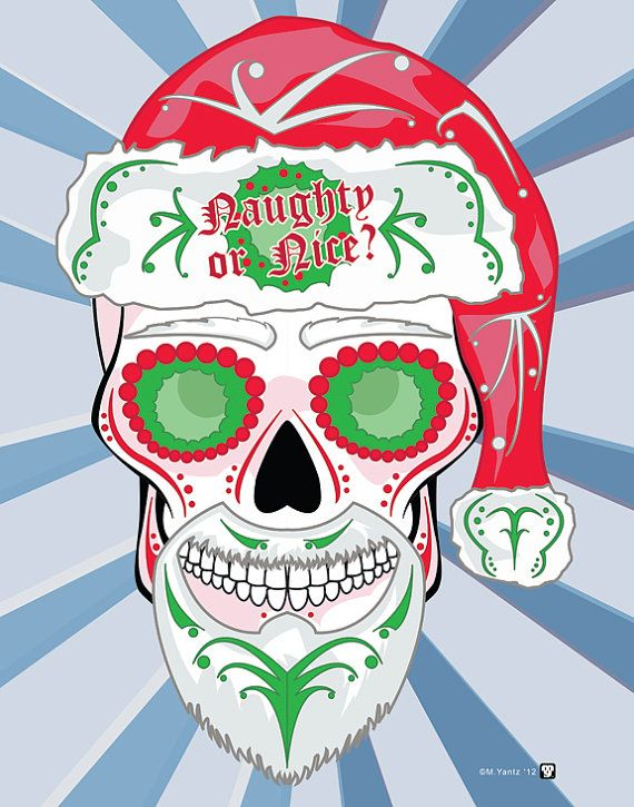santa clause sugar skull print inspired by a certain jolly ole st nick merry christmas - Christmas Sugar Skull