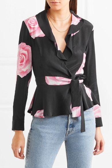 d1b70e4e4dd29 GANNI - Ruffled Floral-print Silk Crepe De Chine Wrap Top - Black ...