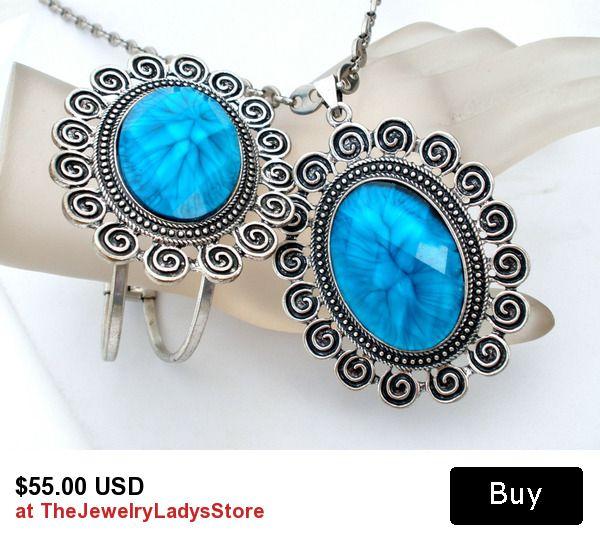 Blue Rhinestone Necklace Earrings Silver Set Vintage