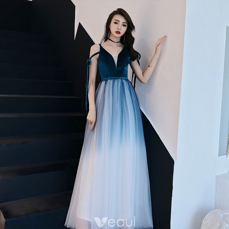 8074c4a7c Affordable Ink Blue Gradient-Color White Evening Dresses 2019 A-Line    Princess Spaghetti Straps Sleeveless Sash Floor-Length   Long Ruffle  Backless Formal ...