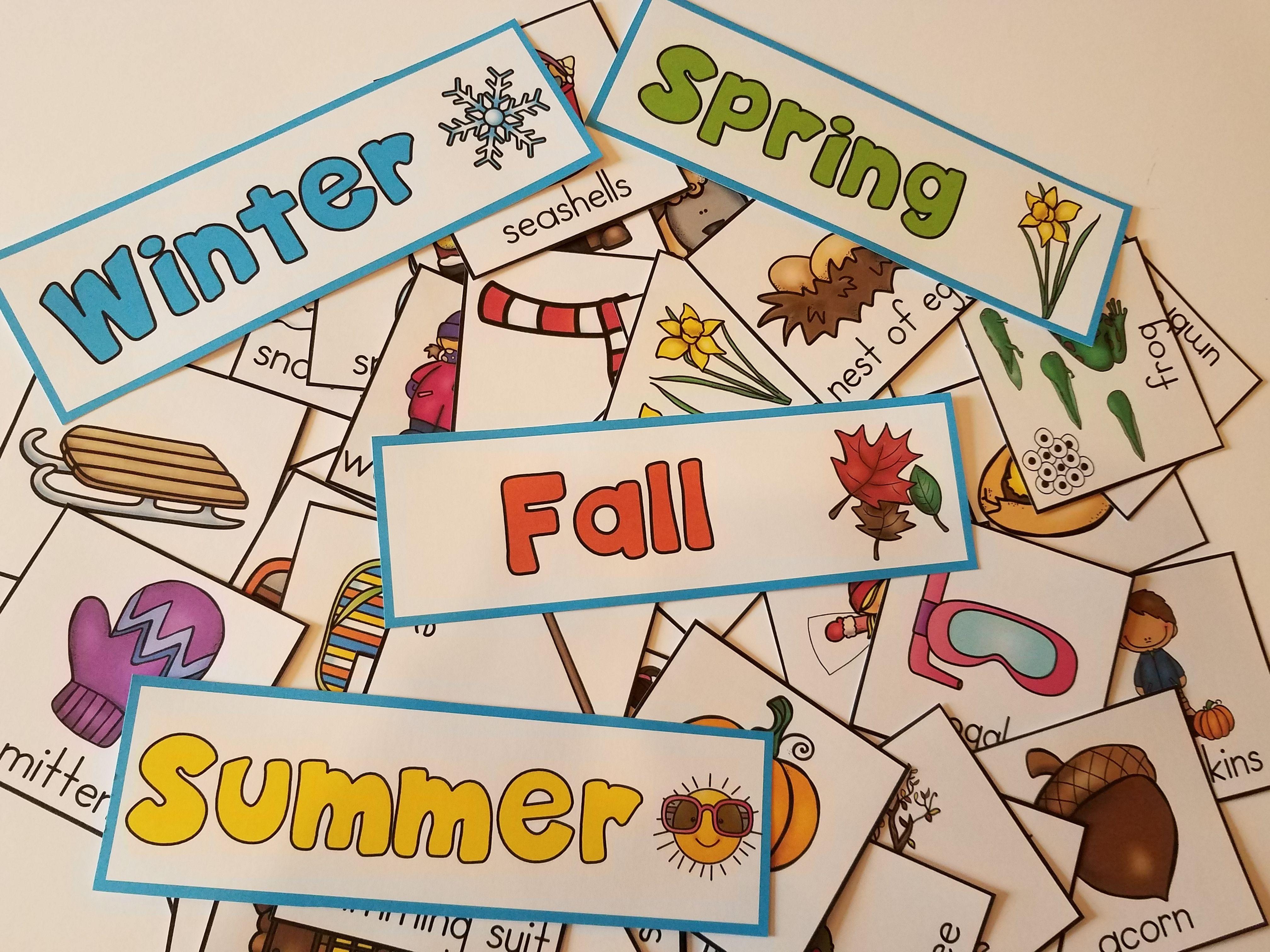 Four Seasons Pocket Chart Sort Learning Center