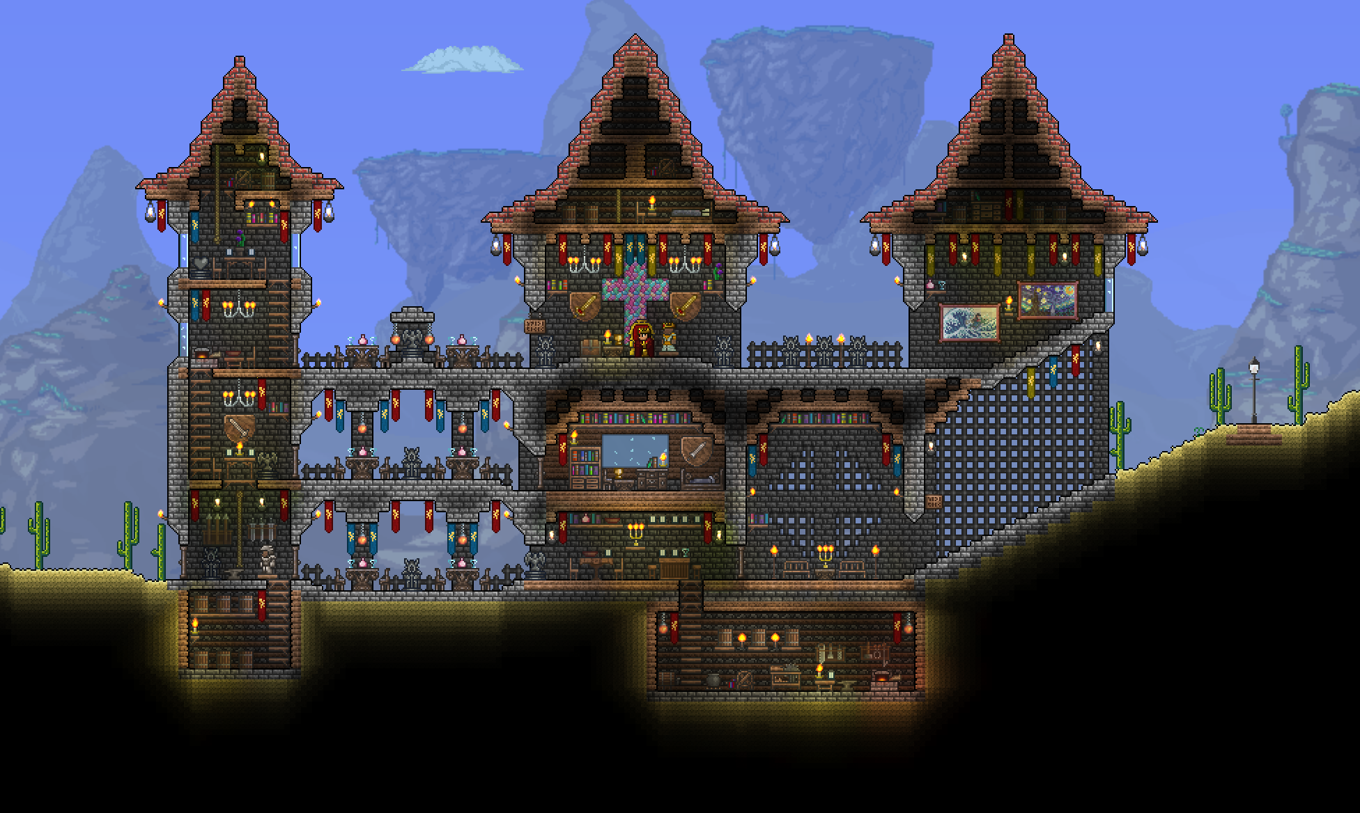 Terraria castle tower castle tower any tips terraria - My First Terraria Castle
