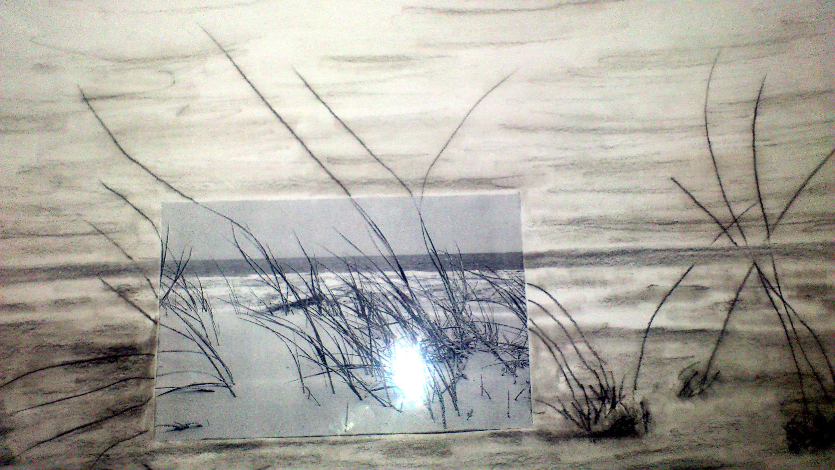 Kohlezeichnung mit Foto. Nordsee Impressionen
