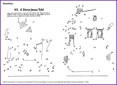 Parable wise man foolish man dot to dot kids korner for Wise man foolish man coloring page