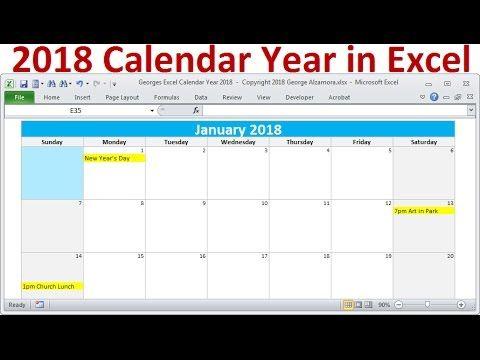 excel 2018 calendar monthly