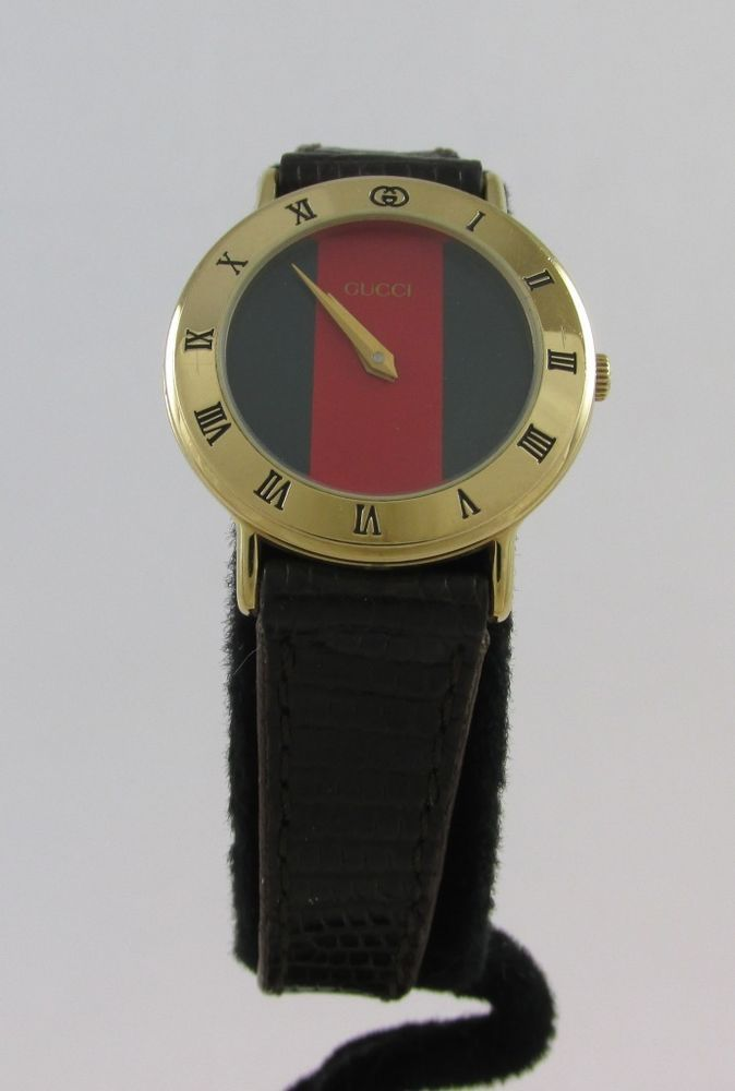 cd77e6cce98 Lady s gucci 3000.2.l gold plated red   green dial wrist watch w ...