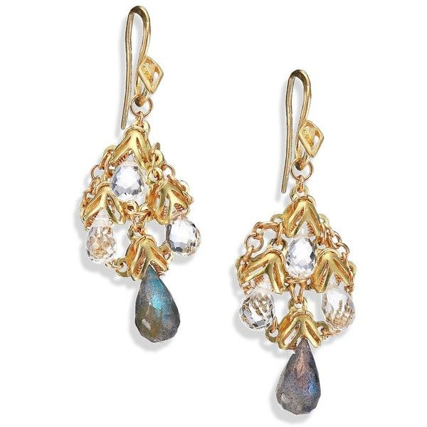 Anthony Camargo 14K Yellow Gold, Labradorite & White Topaz Chandelier... ($1,730) ❤ liked on Polyvore featuring jewelry, earrings, apparel & accessories, gold, yellow gold earrings, 14 karat gold earrings, chandelier earrings, iridescent jewelry and 14k jewelry
