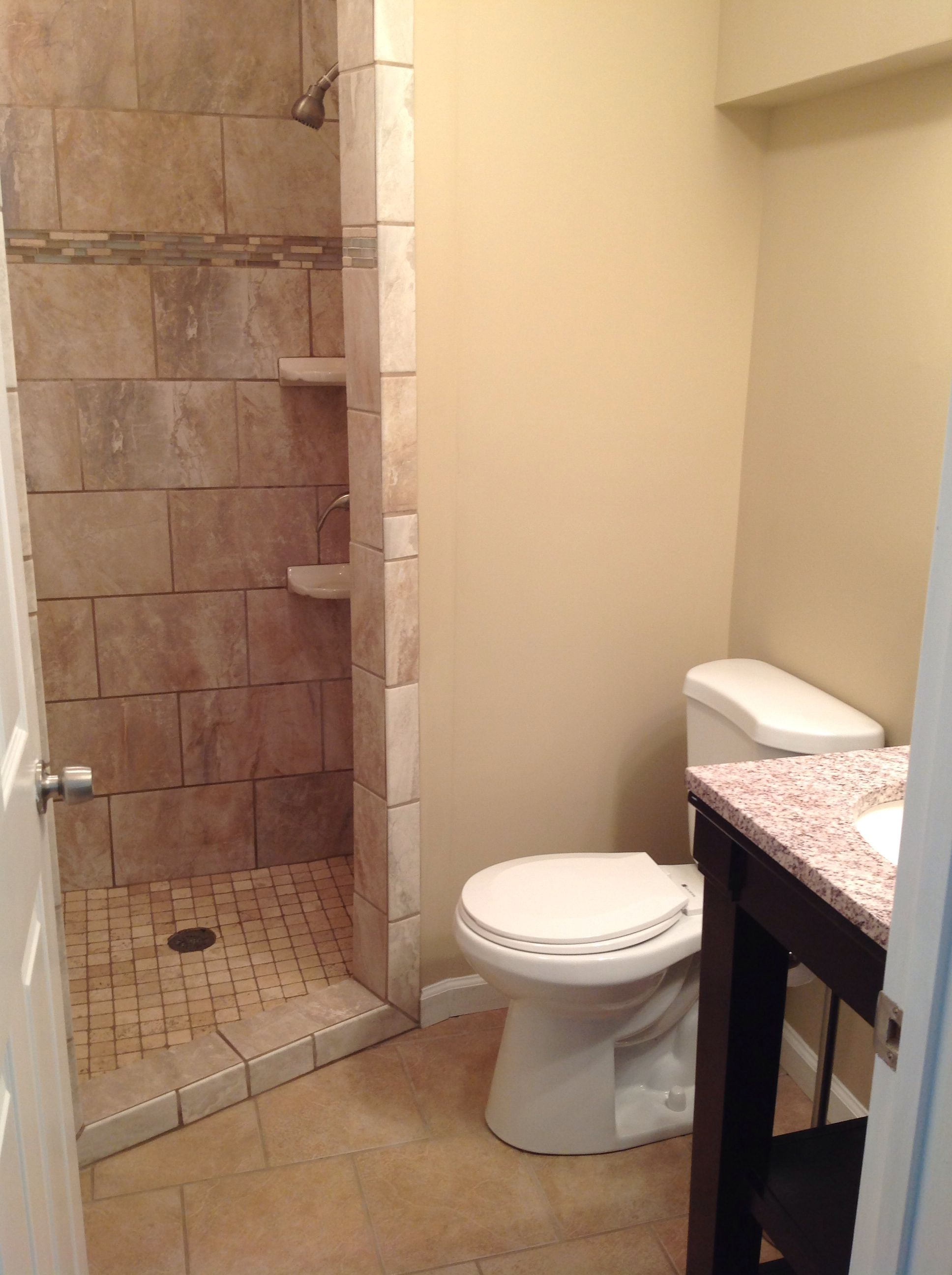 Small bathroom with custom walk in shower by More for Less ...