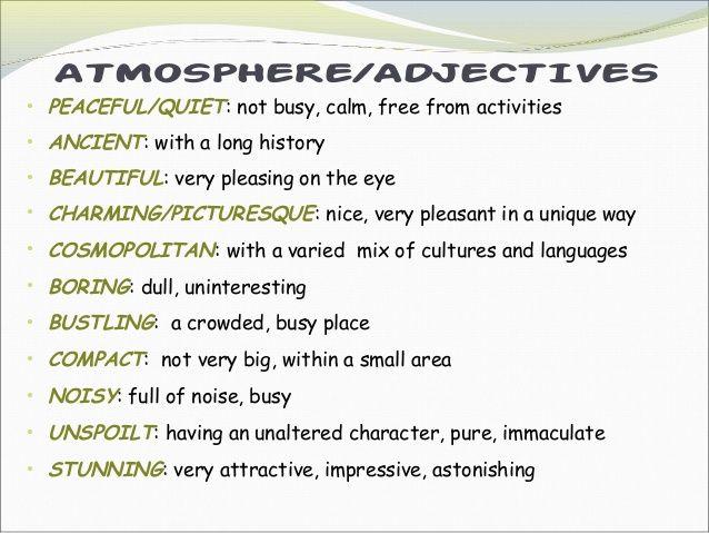 adjectives to describe places list - Buscar con Google teaching - descriptive words for resume