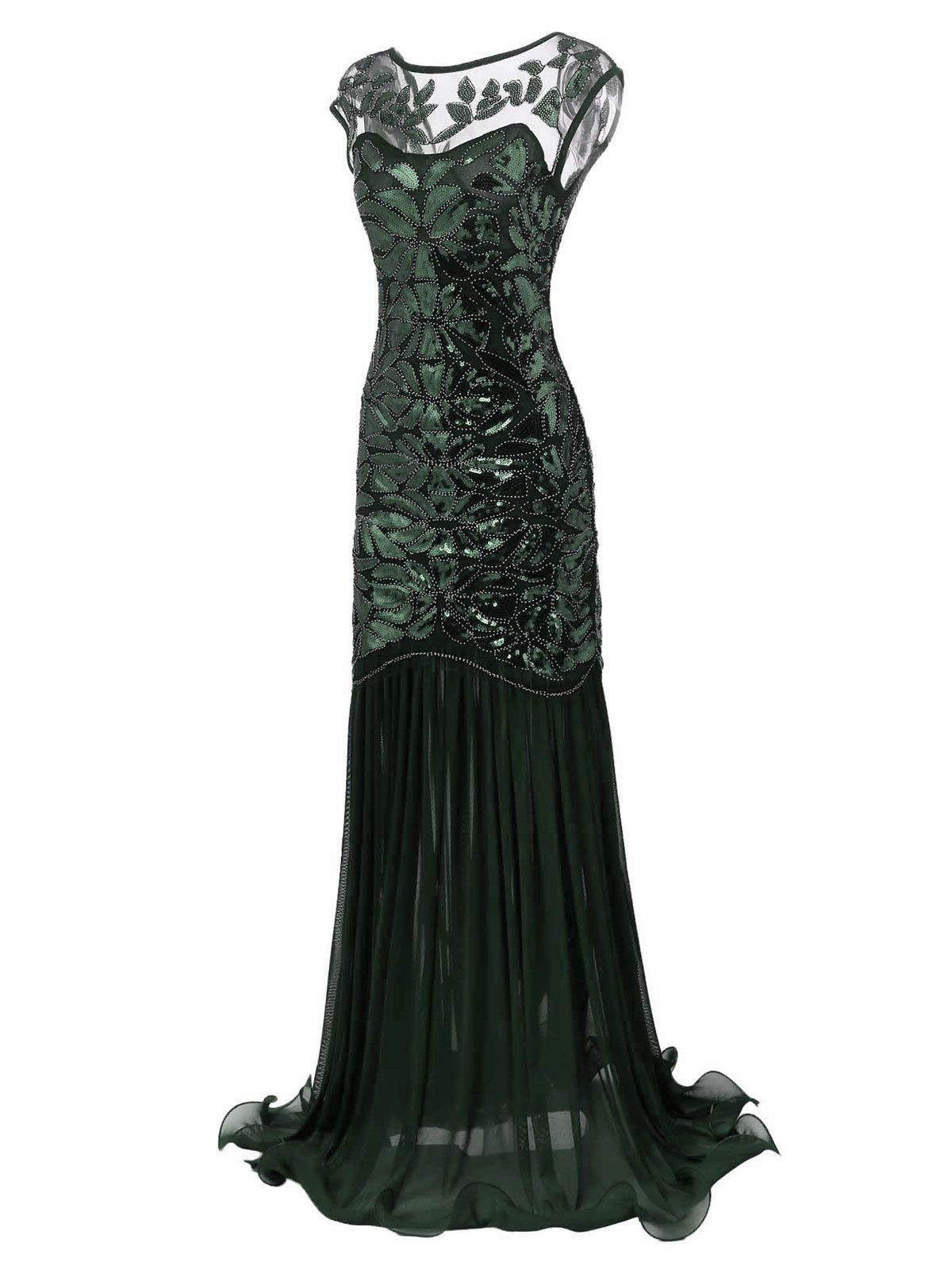 1619d34a Green 1920s Sequin Maxi Flapper Dress – Retro Stage - Chic Vintage Dresses  and Accessories
