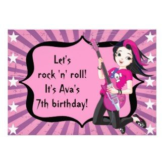 Rock Star Girl birthday party invitation.