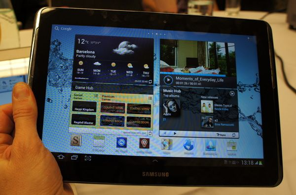 Hands On With the Samsung Galaxy Note 10.1    Samsung's newest 10.1-inch tablet, the Galaxy Note 10.1, is thin, light and powerful, but it's also among a rather rarefied — but growing — group of stylus tablets. Like its little sibling, the 5.3-inch Samsung Galaxy Note, the new tablet features a Wacom digitizing tablet interface and stylus. Unlike the smaller notepad, the 10.1 stylus does not slip inside the slate. It's also kind of fun to use.