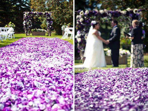 Wedding Aisle Lined Purple Rose Petals
