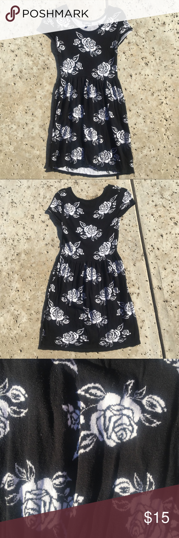 Black u white rose dress