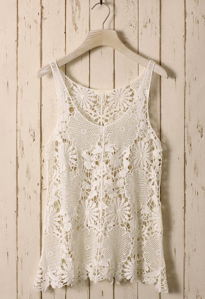 White Floral Crochet Top | Pinterest | Blusas tejidas, Blusas y Manga