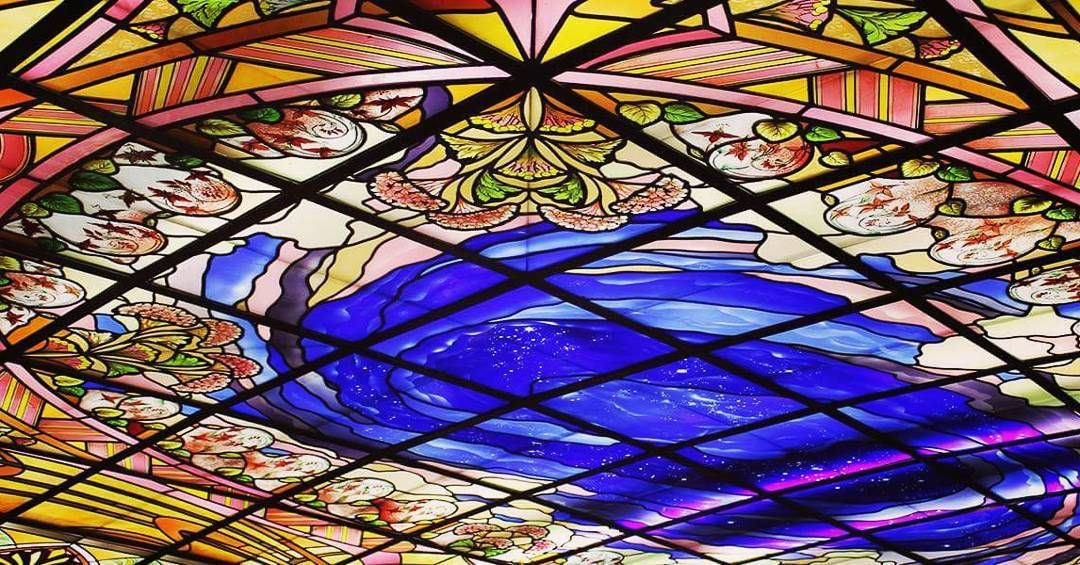 Stained glass ceiling details by France Vitrail International in Le Grand Café de L'Univers Saint Quentin, France