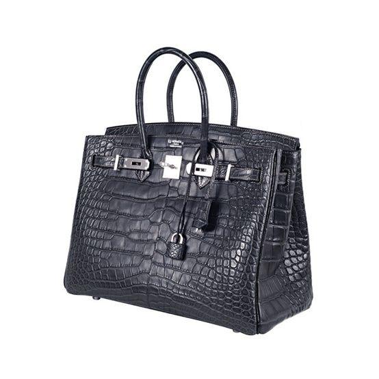be73a89063 Hermes - sac Birkin en croco noir | Hermes | Birkin, Hermes birkin ...