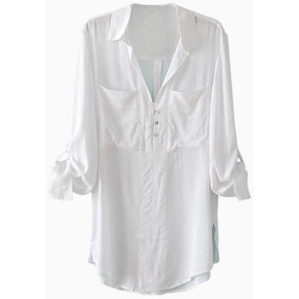 Oversize Shirt with Chest Patch Pockets in White ($20) ❤ liked on Polyvore featuring tops, choies, shirts, oversized tops, oversized white shirt, white shirt, oversized white top and over sized shirts