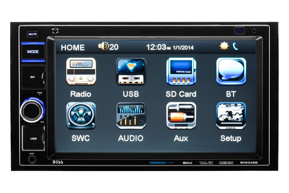 """BOSS® - Double DIN Mechless MP3/WMA/AM/FM Receiver with 6.2"""" Touchscreen TFT Monitor and Built-In Bluetooth"""
