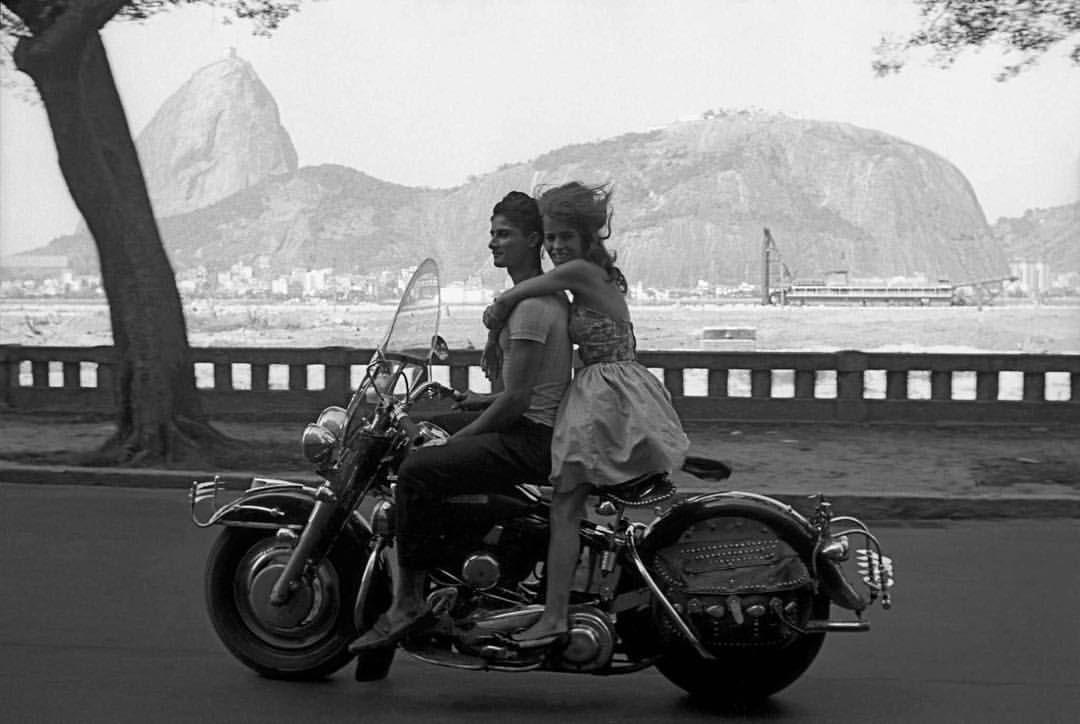 Couple Riding A Motorcycle In Rio De Janeiro Brazil 1963 Vintage Vintagestyle Vintagefashion Brazil Riodejaneiro Frank Horvat Harley Photo