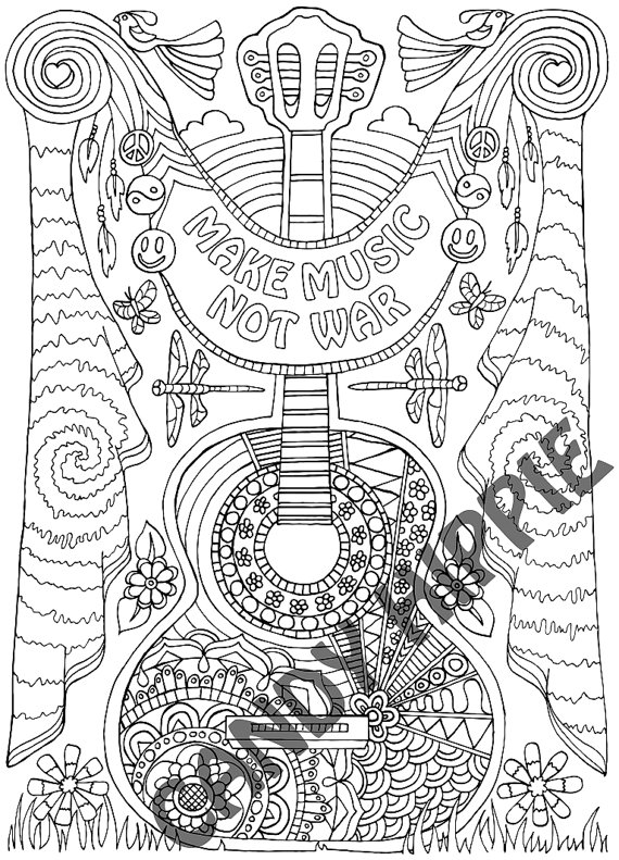 Coloring Page for Adults Make Music Printable by CandyHippie