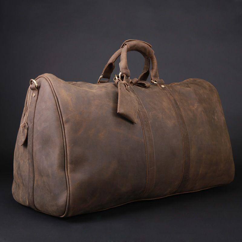Men's Vintage Leather Travel Bag / Luggage / Duffle Bag / Sport ...