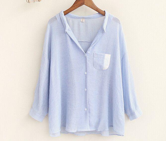 Spell color pocket Deep V-neck Solid loose blouse autumn mori girl