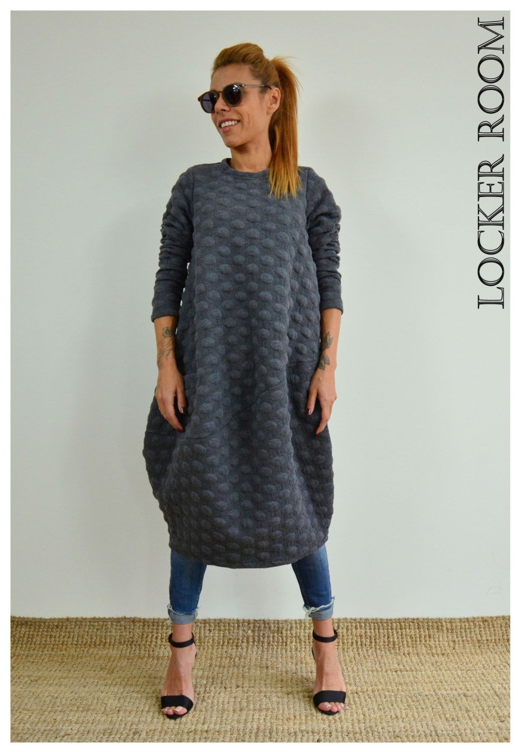 aab7fb01cb8 Grey loose tunic   Maxi unique dress   Oversize loose tunic dress    Extravagant top by