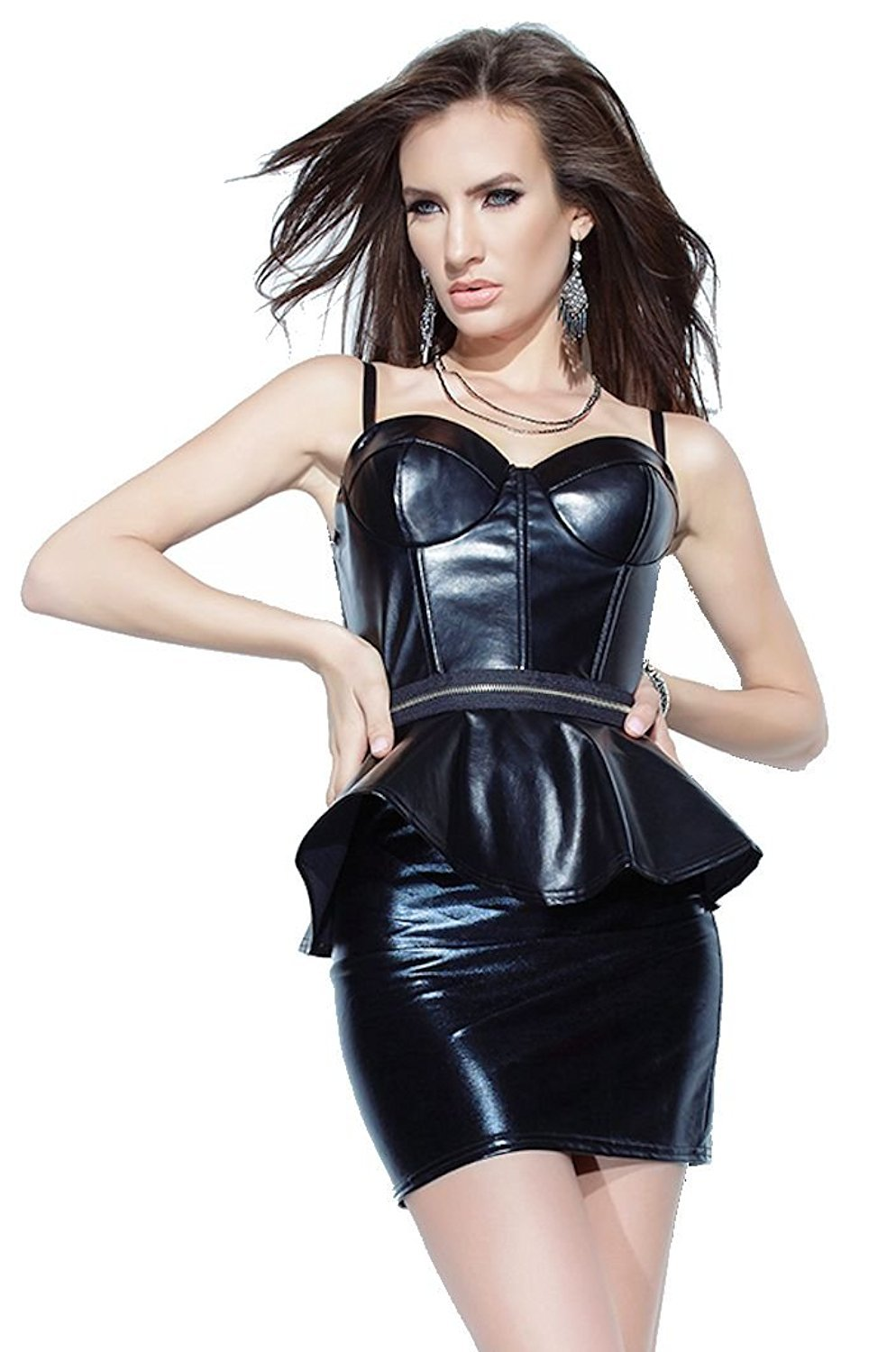 PVC Dress Spandex Black strap mini dress wet look PVC clubwear mini dress Size M