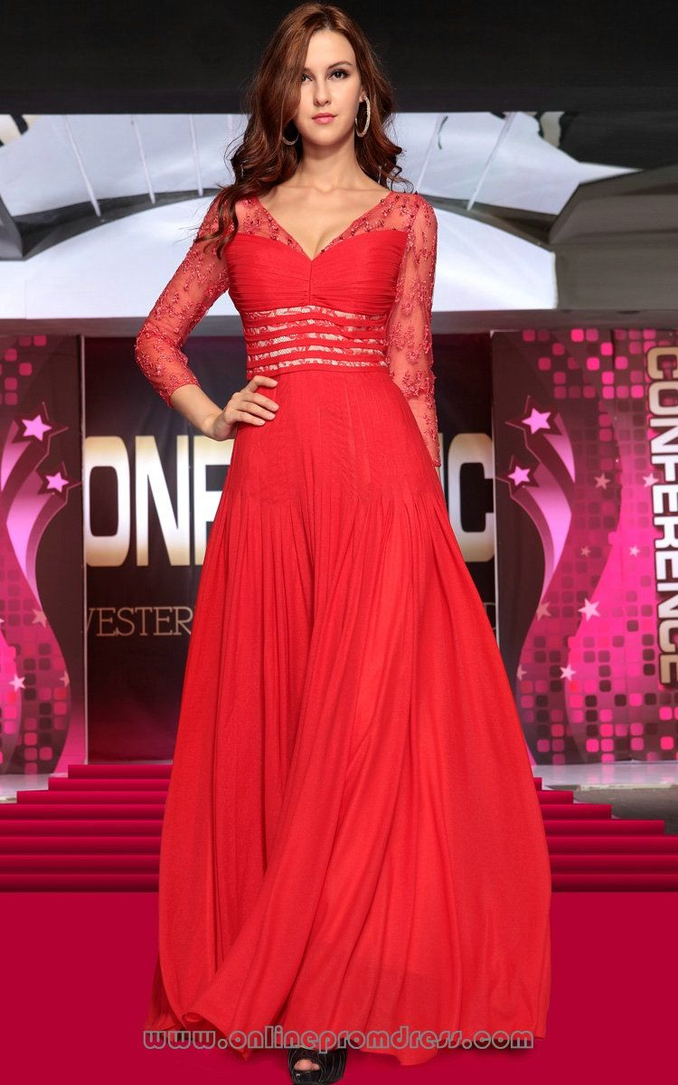 V neck applique long sleeve chiffon formal party dresses red my