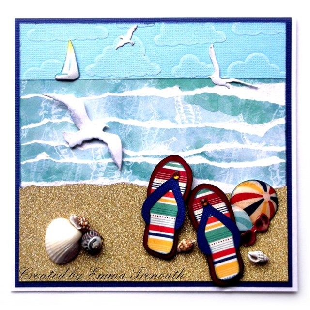 Flip flop beach scene birthday card, bobunny boardwalk papers, IO seagull die