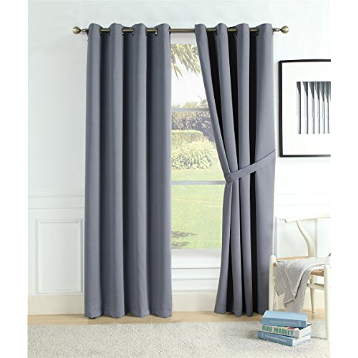 0d90df0e584c84 Home Queen Premium Thermal Insulated Blackout Curtains Window Treatment  Room Darkening Grommet Window Drapes for Bedroom 52 X 84 Inches,2 Panels  with Tie ...