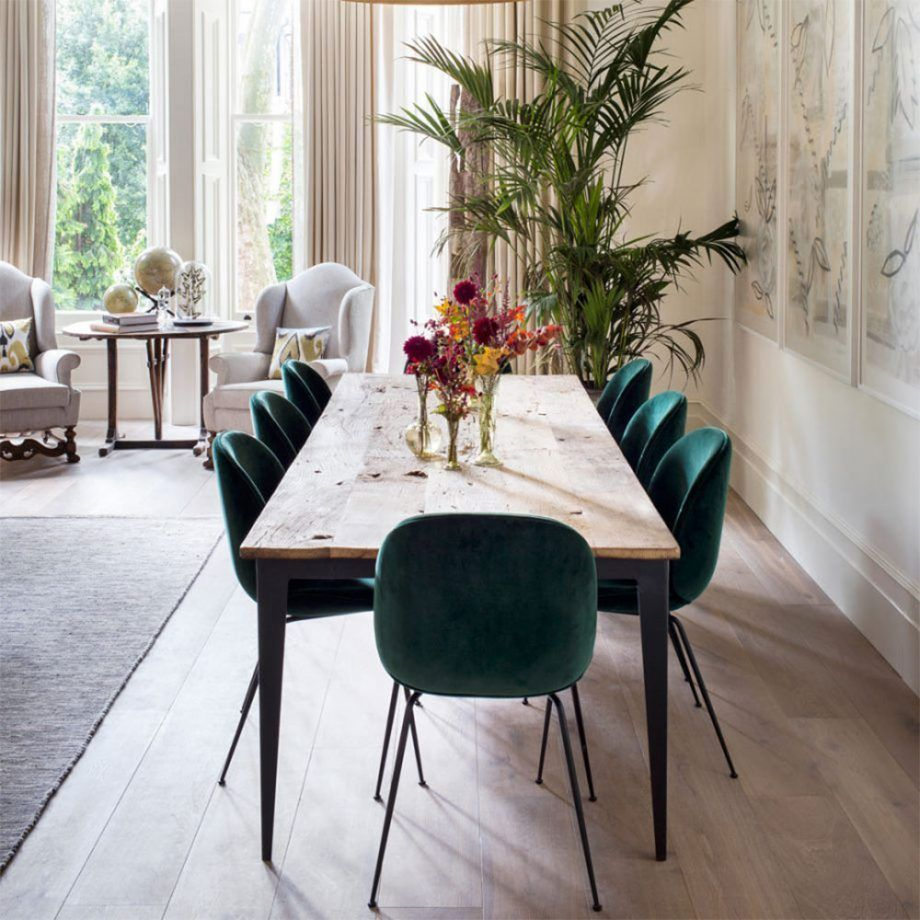 How To Decorate With Green The Most Peaceful Of Colours Green Dining Room Dining Room Chairs Dining Room Sets
