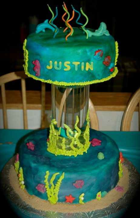My Son's 7th Birthday Cake.  It has a real Salt Water Fish inside