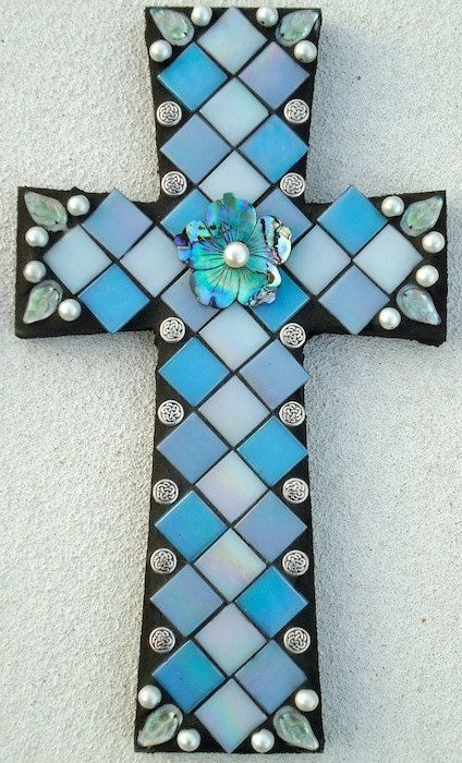 Mosaic Cross Silver Lining By Brokenbeautymosaics On Etsy