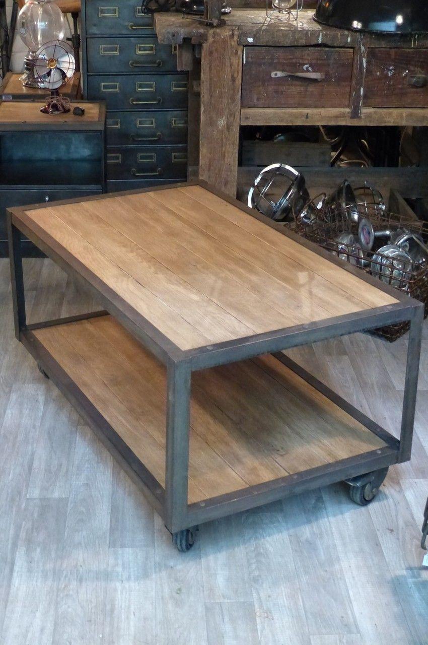 Mobilier industriel table basse fabriqu e sur mesure sur mobilier - Renovation meuble industriel ...