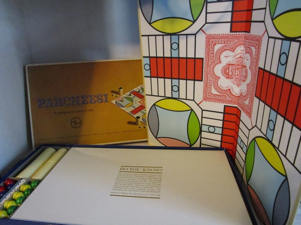 1964 PARCHEESI Board Game Gold Seal Edition Complete