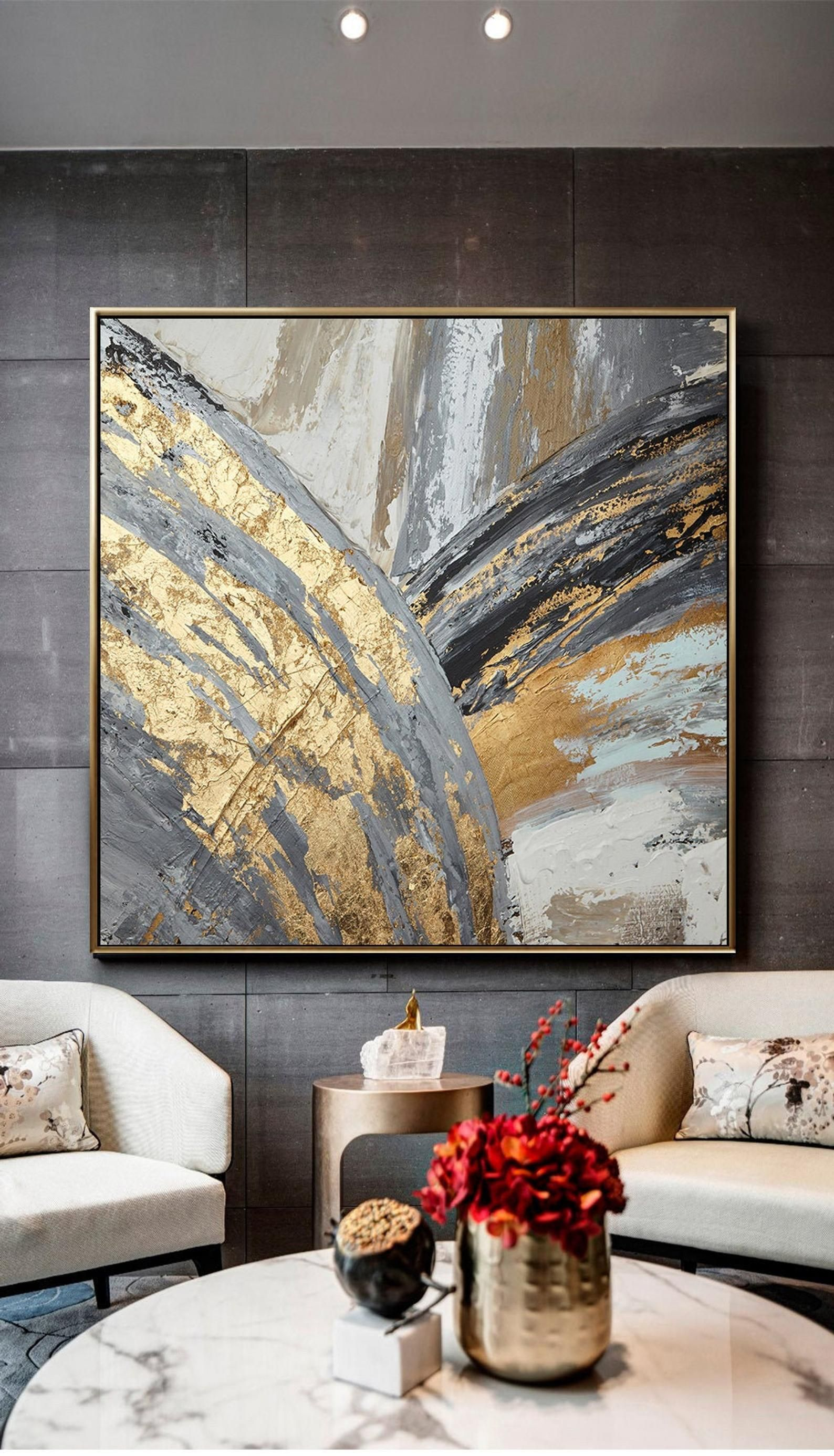 Instant Download Printable Hand Painted Abstract Golden Grey Colors Oil Painting On Canvas Gold Foil Abstract Picture For Wall Decoration Diy Canvas Art Abstract Art Painting Art Painting