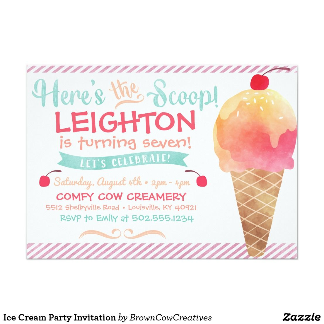 Ice Cream Party Invitation | { Happy Birthday - Invitations and ...